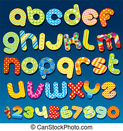 Funky Cartoon vector font - letter from A to Z, clip art for your design