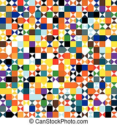 Funky geometric mosaic vector seamless pattern