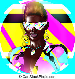 Funky girl with a geometric shapes background, a punk hairstyle and sunglasses