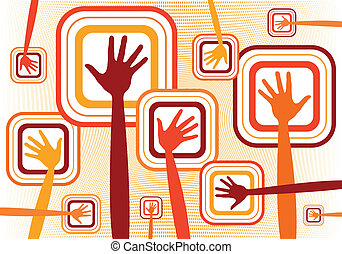 Funky hands vector design.