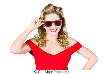 Funky hip pin-up blonde in summer sunglasses