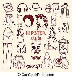Funky hipster style elements of female. Different stylish accessories