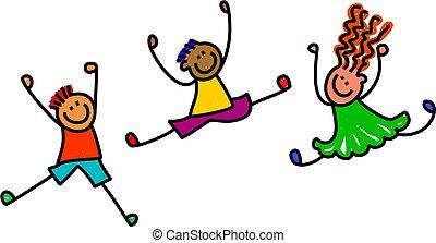 Funky Jumping Kids - Whimsical cartoon illustration of three...