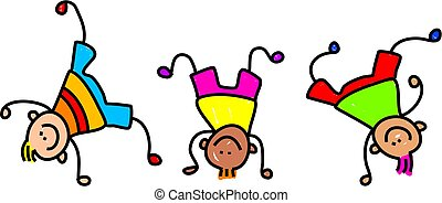 funky kids - A group of happy little boys doing handstands.