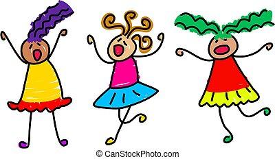 funky kids - group of noisy little girls - toddler art...
