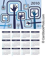funky, mãos, calendário, design.