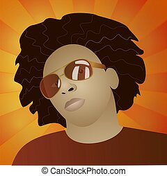 Funky man portrait - illustration of funky afroamerican man