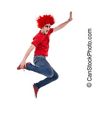 funky man with red big wig, jumping and screaming