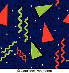 Funky Memphis Pattern on Blue