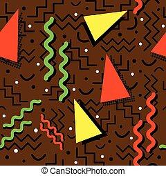 Funky Memphis Pattern on Brown