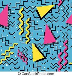 Funky Memphis Pattern on Cyan