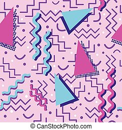 Funky Memphis Pattern on Pink