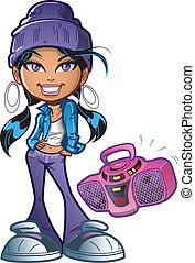 funky, menina, com, boombox