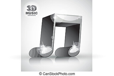 Funky metallic double musical note 3d modern style icon isolated