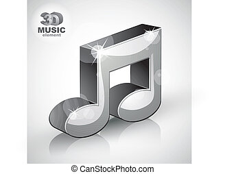 Funky metallic musical note 3d modern style icon isolated.