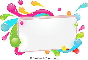 funky, moderne, kleurrijke, meldingsbord