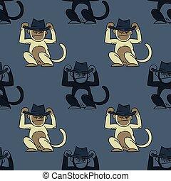 Funky monkey seamless pattern