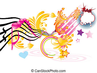 Funky music background with pink notes, vector illustration
