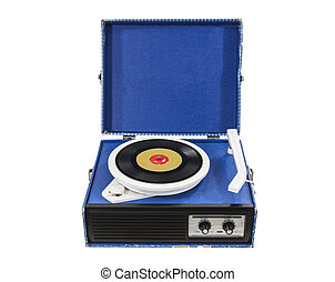 Funky Old Blue Record Player