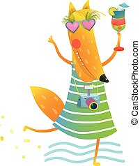 Funky Party Cocktail Fox Wearing Dress with Camera Character