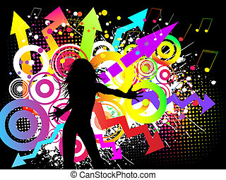 Silhouette of a female on a funky party background