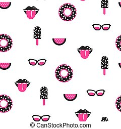 Funky pop pink and black vector seamless pattern.