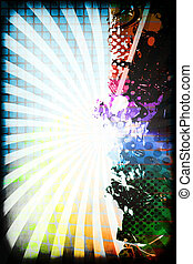 A funky and rainbow colored splatter layout with halftone texture and copy space.