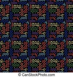 Funky Rainbow Memphis Pattern on Black