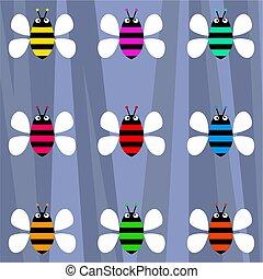 funky retro bees