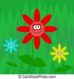 funky, retro bloemen