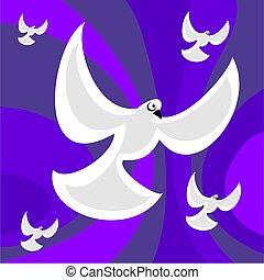funky retro doves - dove of peace retro style background...