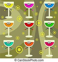 funky retro drinks - cartoony party drinks background