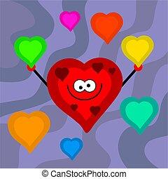 funky retro hearts