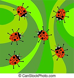 funky retro ladybugs