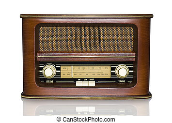 Retro Radio - Funky Retro Radio with Mirror Effect Isolated...