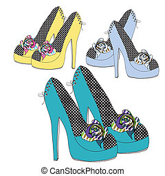 Funky shoe collection with flowers