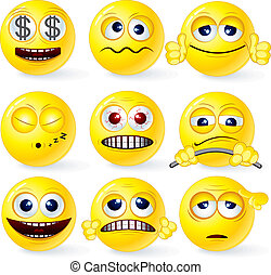 Cartoon Yellow Smiley Balls #1, positive and negative emotions, gestures, poses