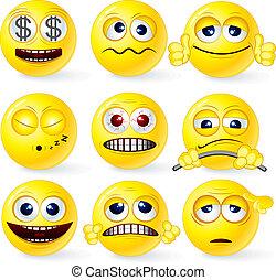 Funky Smilies 1 - Cartoon Yellow Smiley Balls #1, positive...