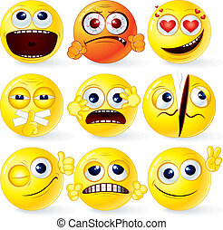 Cartoon Yellow Smiley Balls #3, positive and negative emotions, gestures, poses