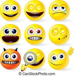 Funky Smilies 4 - Cartoon Yellow Smiley Balls #4, positive...