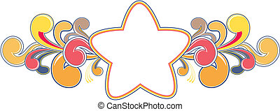 funky star - pop star shape for copy space and cool design...
