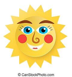 Funky Sun Cartoon. Paper Cut Abstract Vector Symbol.