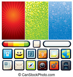 funky, telefoon, set., vector, grafiek