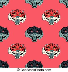 Funky tiger face seamless pattern
