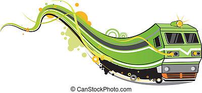 train  - funky train pattern design.