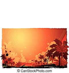 Funky tropical island background