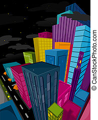 Funky Urban Scene at Night with Clipping Path