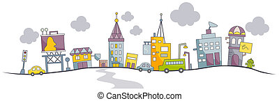 Funky Urban Scene with Clipping Path