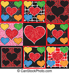 Fun and Funky valentine doodle hearts in a colorful quilt like pattern