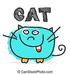 Funky Vector Cat Illustration Isolated on White Background